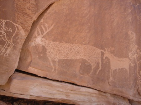 Detail of petroglyph panel near Bluff, Utah.
