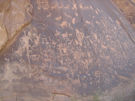 Newspaper Rock, a petroglyph site on the eastern edge of Canyonlands.