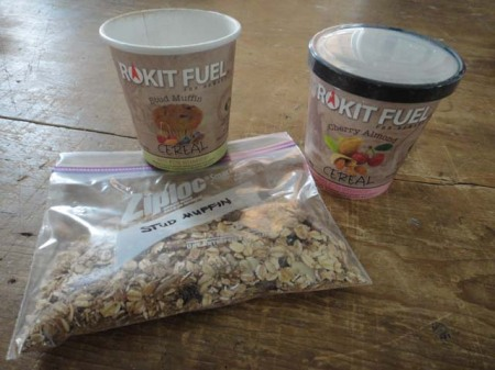 Rokit Fuel Cereal Cup dumped into Ziplock bag for backpack breakfasts. Photo by Gerald Trainor.
