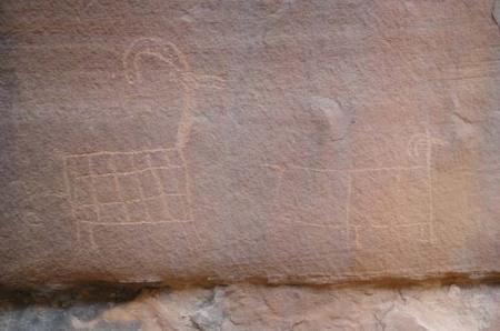 A small rock art panel along the lower Escalante River. Photo by Gerald Trainor.