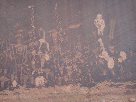 Rock art panel on the San Juan, with prehistorically vandalised images. Gerald Trainor photo.