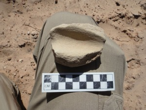 A grooved stone we found on our approach to one of the canyons. Scale is in centimeters.