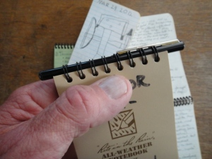 Rite in the Rain spiral notebook with Fisher pen, Photo by Gerald Trainor.
