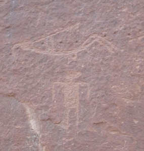 Reclining Kokopelli figure along the San Juan River.Photo by gerald Trainor.