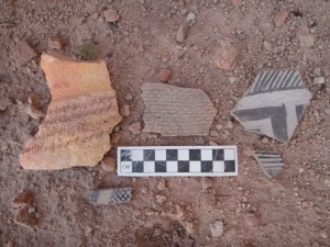 "Beautiful potsherds at a site we have recently ""discovered"". The styles there were incredibly diverse."