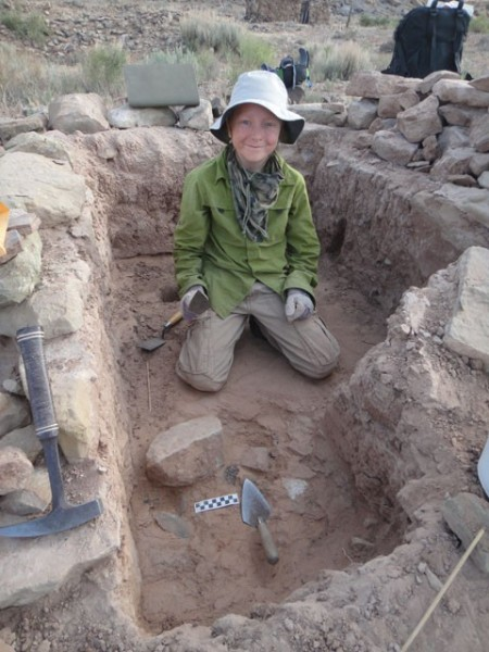 Nicolai in our excavation unit- Nancy Patteson Village. Photo by Gerald Trainor.