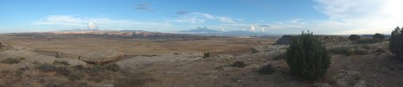 "Panoramic view to the south of ""train camp"", one of our frequently visited camps in Utah. It has a great view of Westwater, the La Sals, and the railroad tracks."