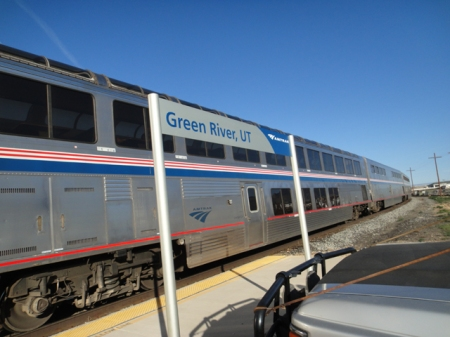 Amtrak train at Green River station, Utah. Photo by Gerald Trainor.