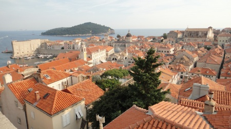 Dubrovnik, Croatia- view from wall surrounding the city looking towards the Adriatic Sea.