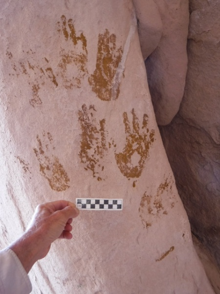 Yellow hand prints, southern utah. Photo by Gerald Trainor.