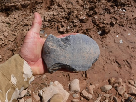 Axe head found in wash in southeast Utah. Photo by Gerald Trainor.